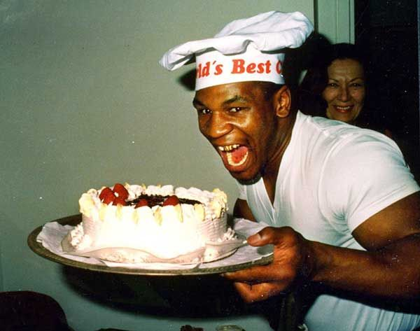 Mike Tyson Smiling with cake