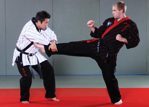 learning Hapkido averting a front kick